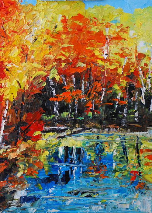 Landscape Greeting Card featuring the painting Blazing Reflections by Phil Burton