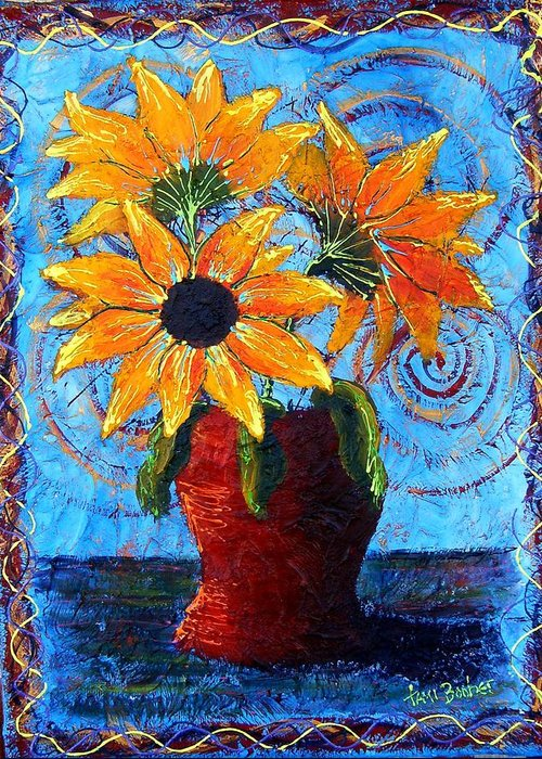 Greeting Card featuring the painting Blazing Sunflowers by Tami Booher
