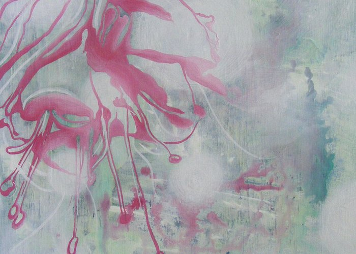 Bleeding Heart Greeting Card featuring the painting Bleeding Heart by Monica James