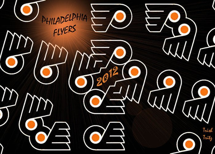Hockey Greeting Card featuring the photograph Bleeding Orange And Black - Flyers by Trish Tritz