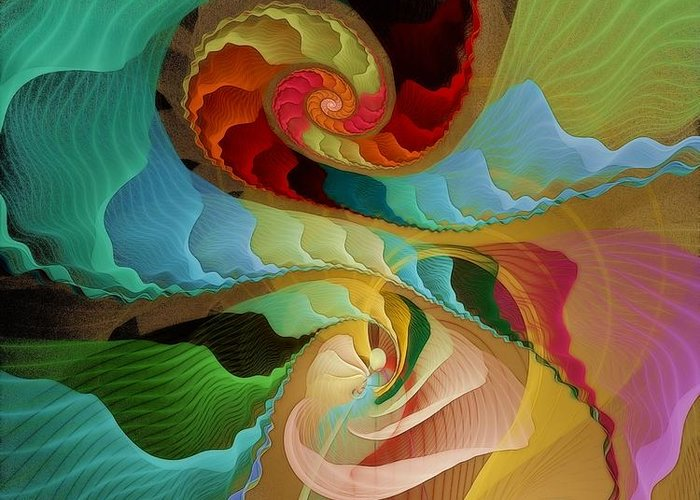 Fractal Greeting Card featuring the digital art Blending Into Our Souls by Gayle Odsather