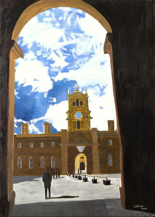 Churchill Greeting Card featuring the painting Blenheim Palace England by Avi Lehrer
