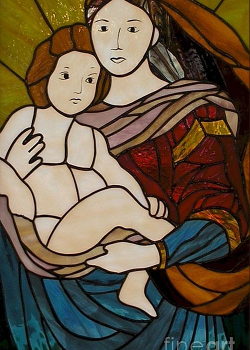 Mary And Jesus Greeting Card featuring the glass art Blessed Art Thou Among Women-mary by David Gomm