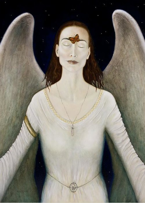 Angel Greeting Card featuring the painting Blessed By A Winged Being by Nanne Nyander