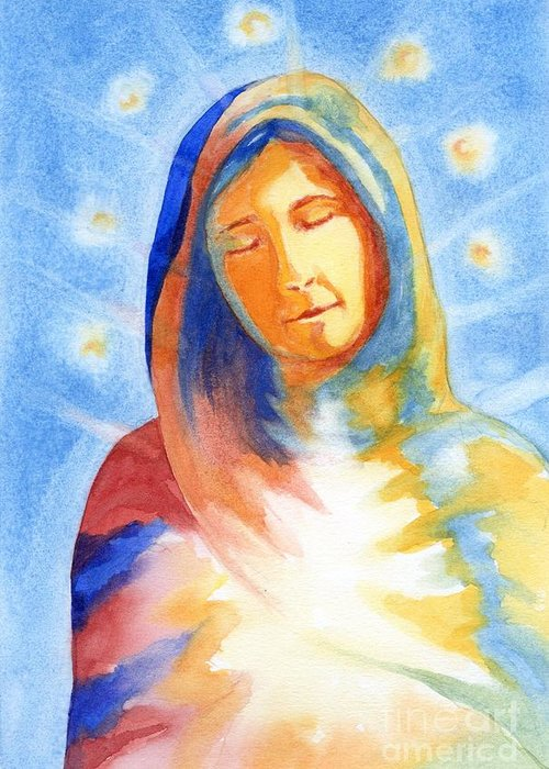 Divine Greeting Card featuring the mixed media Blessed Mother by Juanita Yoder