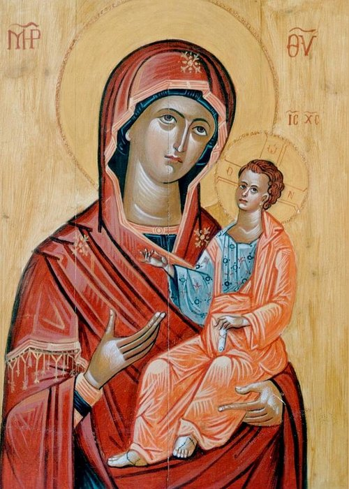 Blessed Virgin Mary Paintings.blessed Virgin Mary Icons.icon Of The Blessed Virgin Mary.encaustic Icon Of Blessed Virgin Mary.byzantine Icon Paintings.traditional Greek Byzantine Icons.orthodox Church Icons. Greeting Card featuring the painting blessed Virgin Mary by George Siaba