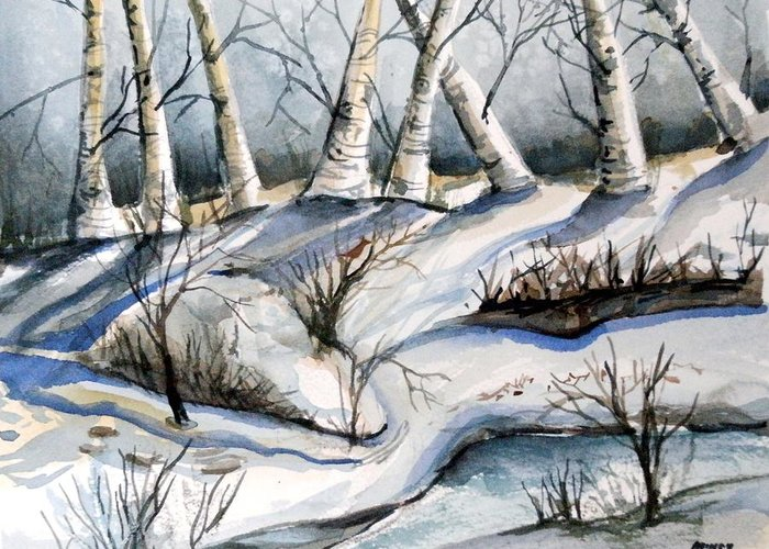 Winter Greeting Card featuring the painting Blessedness by Mindy Newman