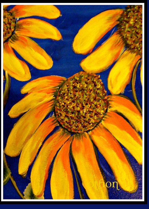 Floral Greeting Card featuring the painting Blessings by Kathy Othon