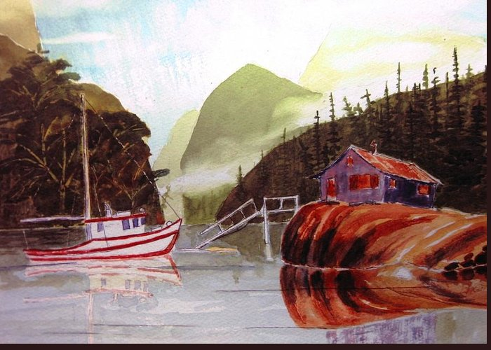Sescape Greeting Card featuring the painting Blind Bay Troller by Buster Dight