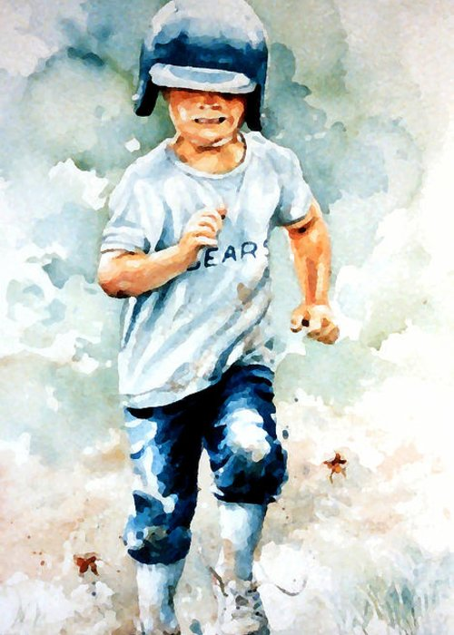 Kids Baseball Art Greeting Card featuring the painting Blind Dash For First by Hanne Lore Koehler