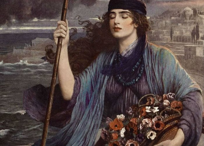 Herbert Gustave Schmalz-carmichael - Blind Girl Of Pompeii Greeting Card featuring the painting Blind Girl Of Pompeii by MotionAge Designs