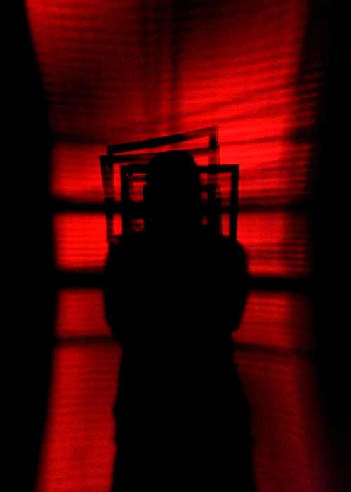 Abstract Greeting Card featuring the photograph Blind Shadow by Jonathan Ellis Keys