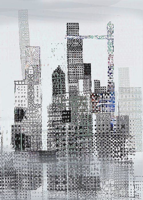 Urban Landscape Illustration Greeting Card featuring the digital art Blip 2 by Andy Mercer
