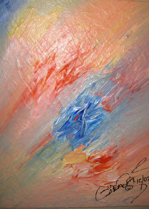 Abstract Greeting Card featuring the painting Bliss - B by Brenda Basham Dothage