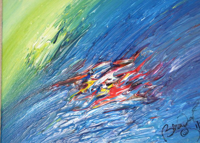Abstract Greeting Card featuring the painting Bliss - E by Brenda Basham Dothage