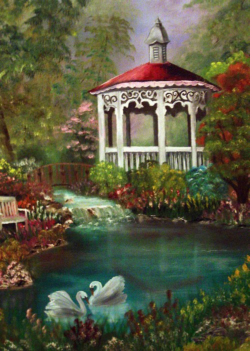 Gazebo Greeting Card featuring the painting Blissful Day by Darlene Green
