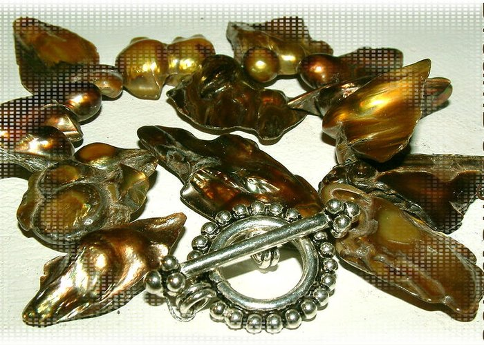 Blisterpearls Greeting Card featuring the jewelry Blister Pearls in Bronze by Donna Phitides