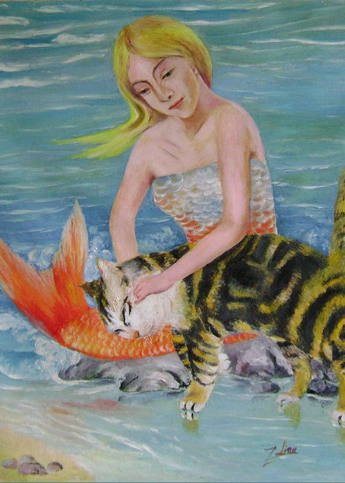 Surrealist Greeting Card featuring the painting Blond Mermaid And Cat by Lian Zhen