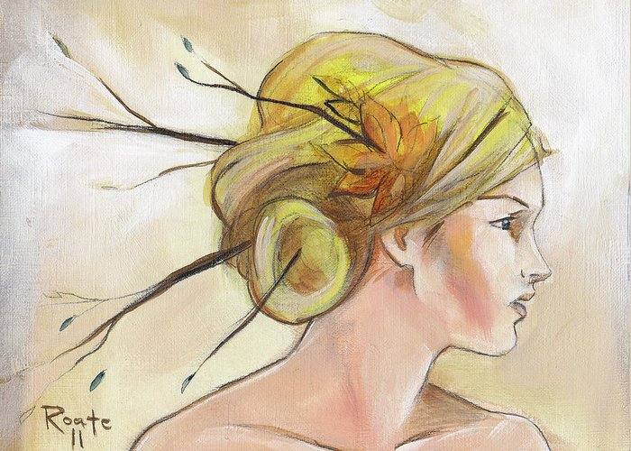 Autumn Leaves Greeting Card featuring the painting Blonde Autumn Right by Jacque Hudson