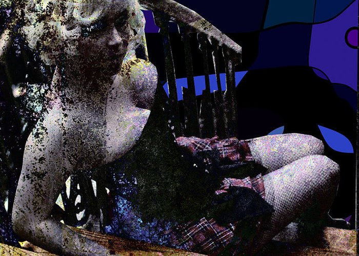 Girl Greeting Card featuring the digital art Blonde On Blue Stairs by Adam Kissel