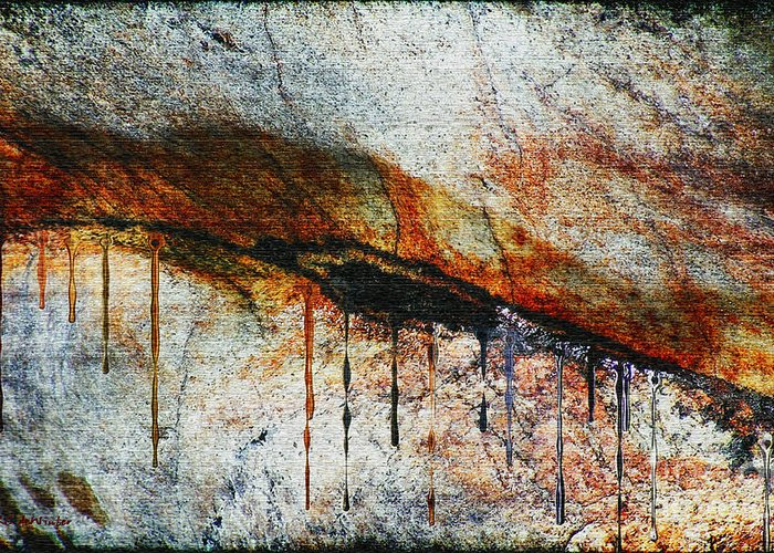 Rock Greeting Card featuring the painting Blood From A Stone by RC DeWinter