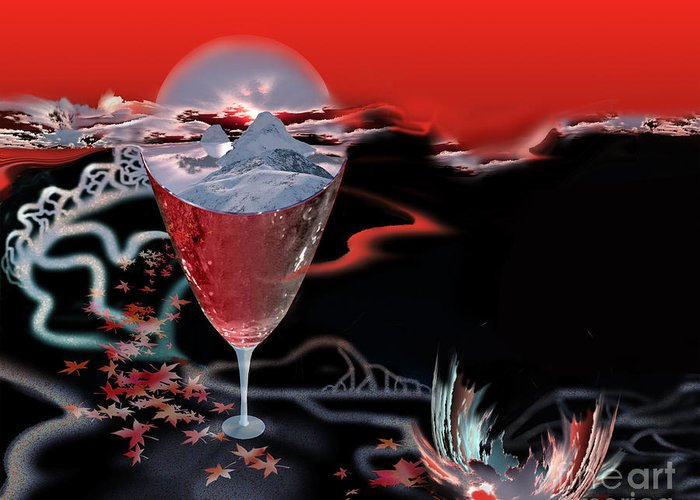 Blood Greeting Card featuring the digital art Blood Red From Pure White by Jennifer Kathleen Phillips