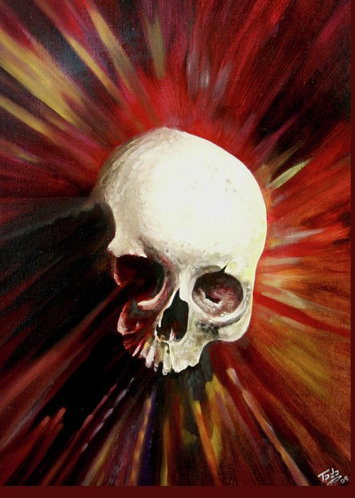 Skull Greeting Card featuring the painting Blood Skull by Todo Brennan