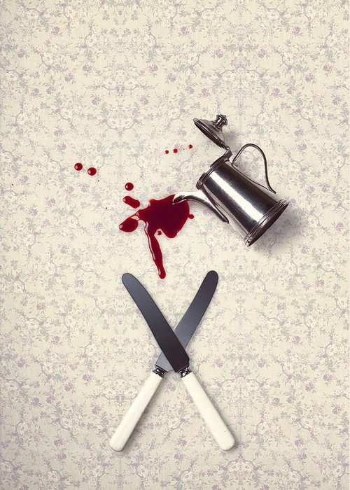 Knife Greeting Card featuring the photograph Bloody Dining Table by Joana Kruse