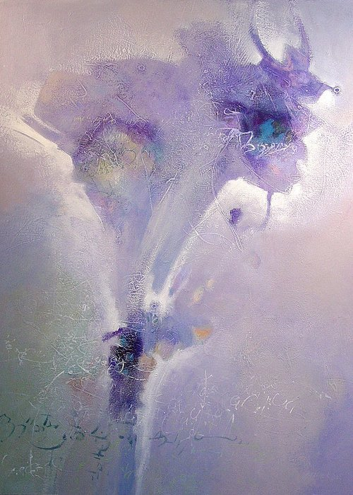 Abstract Greeting Card featuring the painting Bloom by Dale Witherow