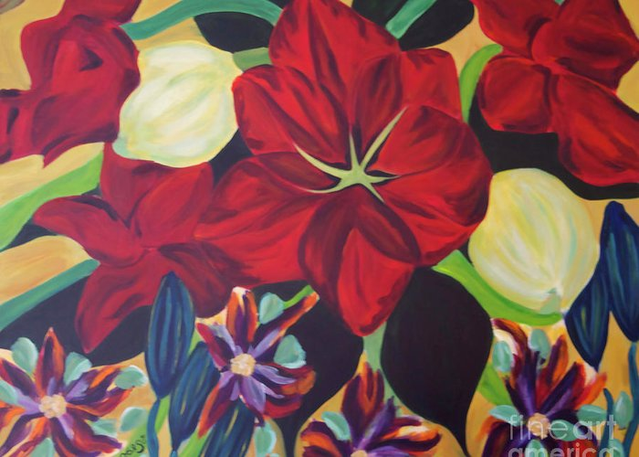 #flower Greeting Card featuring the painting Bloom by Jacquelinemari