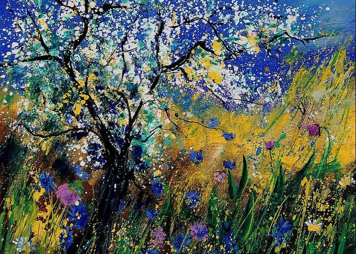 Spring Greeting Card featuring the painting Blooming appletree by Pol Ledent