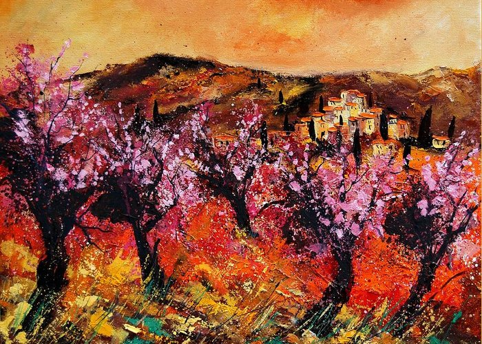 Provence Cherrytree Summer Spring Greeting Card featuring the painting Blooming Cherry Trees by Pol Ledent