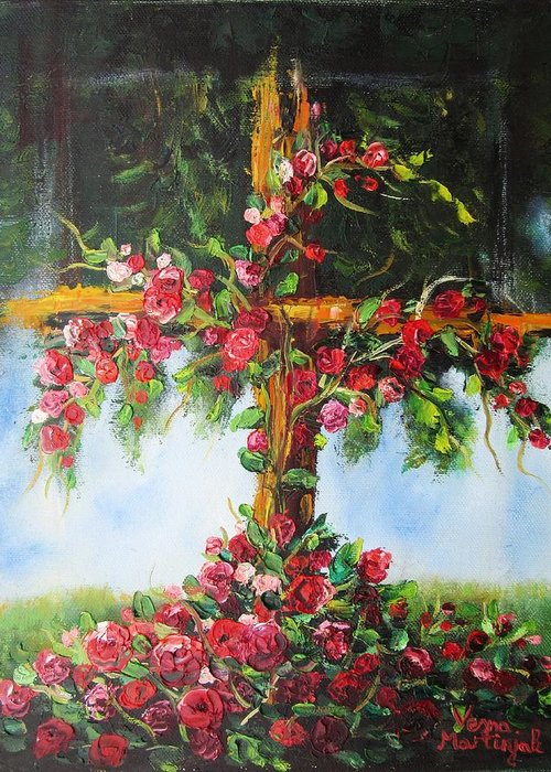 Cross Greeting Card featuring the painting Blooming Cross by Vesna Martinjak
