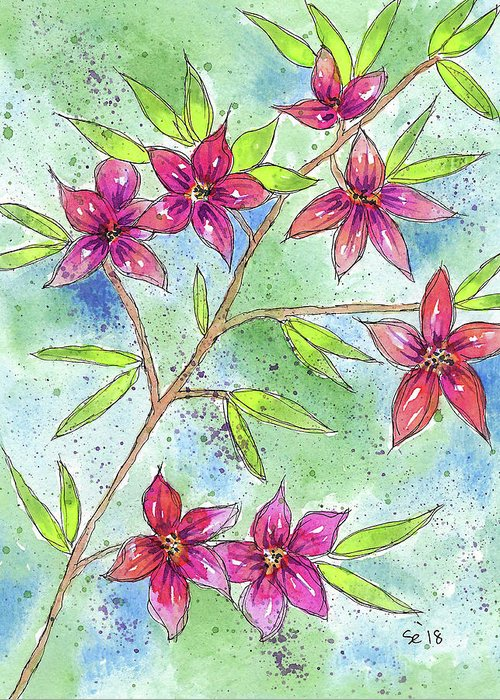 Watercolor And Ink Greeting Card featuring the painting Blooming Flowers by Susan Campbell