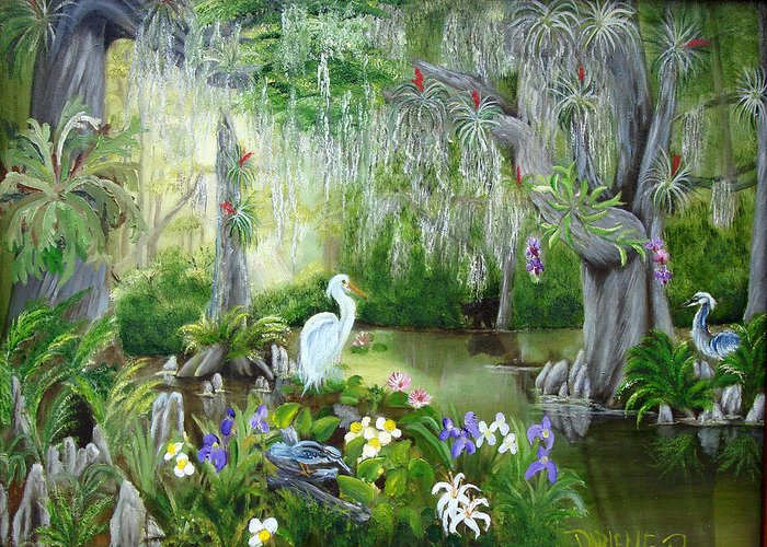 Florida Greeting Card featuring the painting Blooming Swamp by Darlene Green