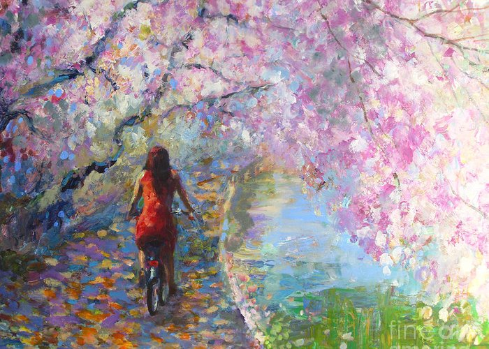 Spring Blossoms Alley Painting Greeting Card featuring the painting Blossom Alley Impressionistic Painting by Svetlana Novikova