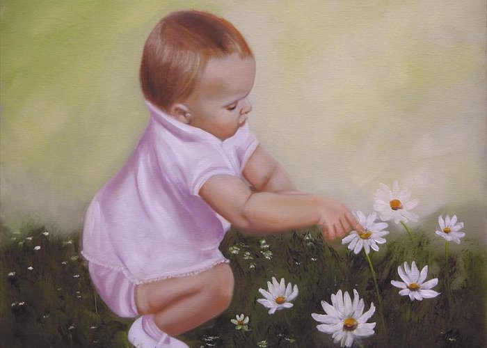 Baby Greeting Card featuring the painting Blossom Among The Flowers by Joni McPherson