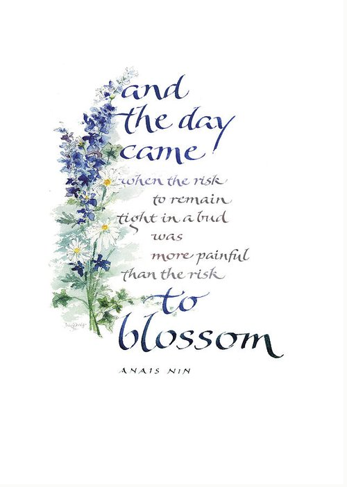 Achievement Greeting Card featuring the painting Blossom I by Judy Dodds