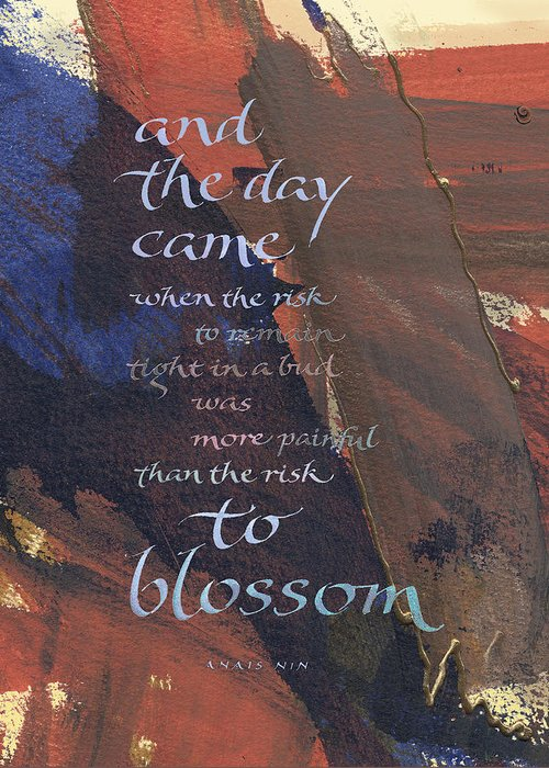 Achievement Greeting Card featuring the painting Blossom II by Judy Dodds