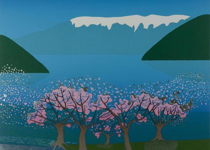 Landscape Greeting Card featuring the mixed media Blossom In The Hardanger Fjord by Jarle Rosseland