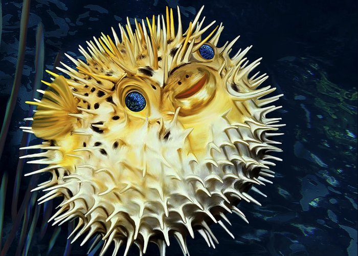 Blowfish Greeting Card featuring the digital art Blowfish by Thanh Thuy Nguyen