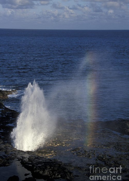 Hawaii Greeting Card featuring the photograph Blowhole At Poipu by Stan and Anne Foster