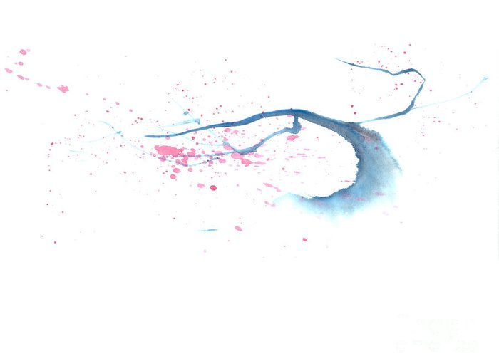 A Flowering Tree Is Blowing In The Wind And Spreading Flower All Over.  This Is A Contemporary Chinese Ink And Color On Rice Paper Painting With Simple Zen Style Brush Strokes.  Greeting Card featuring the painting Blowing In The Wind I by Mui-Joo Wee
