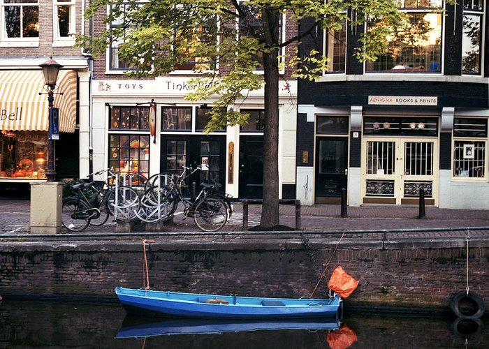 Amsterdam Greeting Card featuring the photograph Blu Boat by Lawrence Costales