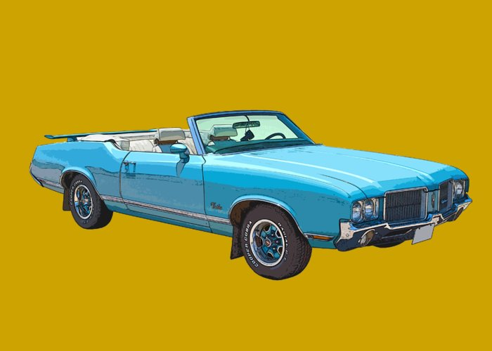 1971 Oldsmobile Cutlass Greeting Card featuring the photograph Blue 1971 Oldsmobile Cutlass Supreme Convertible by Keith Webber Jr