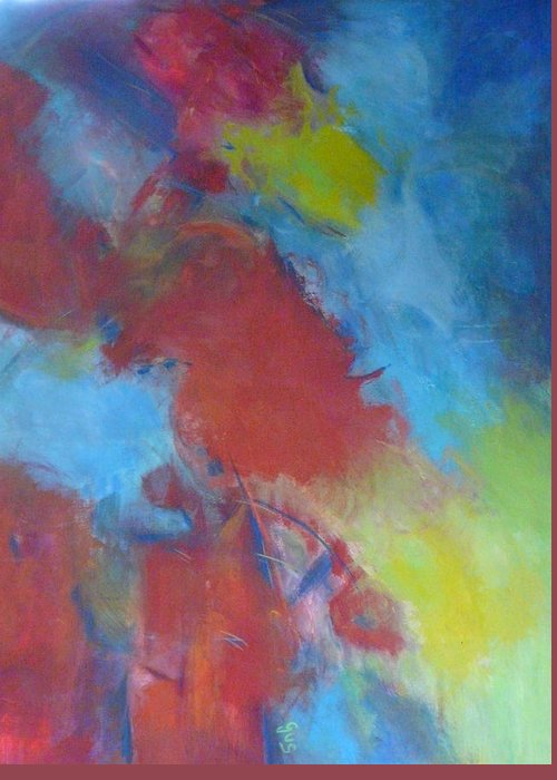 Red Greeting Card featuring the painting Blue Abstract by Gloria Smith
