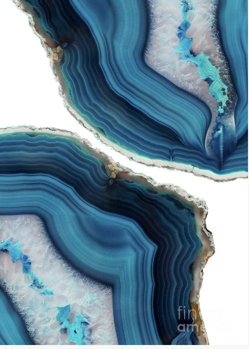 Blue Greeting Card featuring the mixed media Blue Agate by Emanuela Carratoni