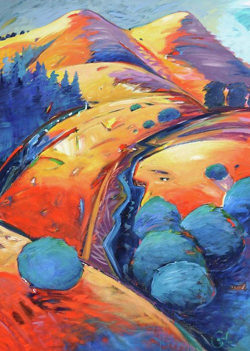 Hills Greeting Card featuring the painting Blue And Gold by Gary Coleman