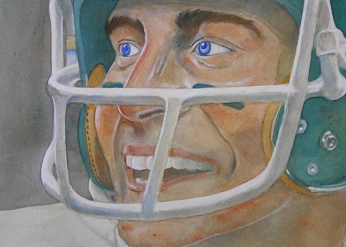 Football Greeting Card featuring the painting Blue And Green by Nigel Wynter