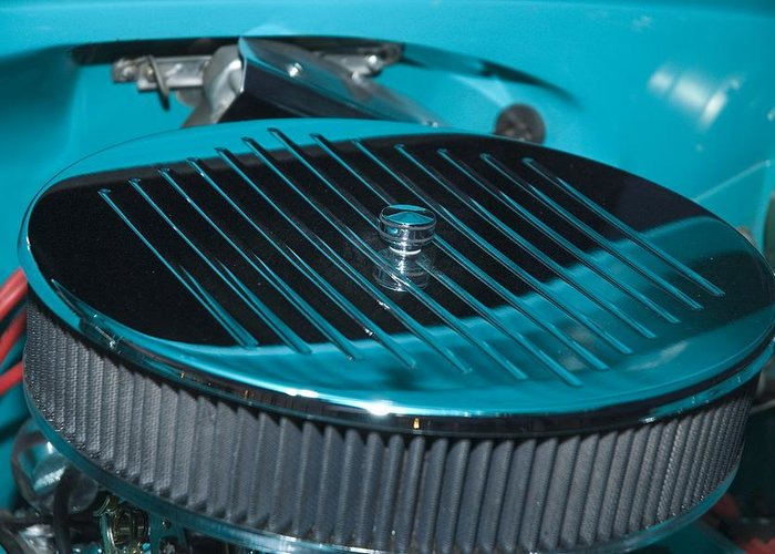 Automobile Greeting Card featuring the photograph Blue And Grey Air Filter by Richard Henne